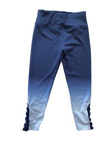 Justice Ombre Lattice Crop Yoga Pants Girls 10 Leggings Blue
