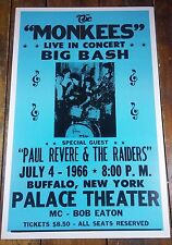 JULY 4TH 1966 THE MONKEES PAUL REVERE ROCK & ROLL CONCERT ADVERTISING POSTER