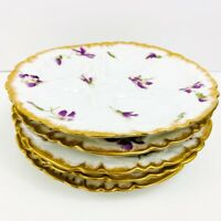 Set of 5-CH Field Haviland Limoges Oyster Plates with Violets and Gold Gilt