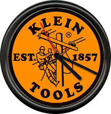 Klein Tools Electrician Electrical Sign Lineman Cable Orange Blk Sign Wall Clock