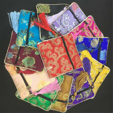 Multi Colors Chinese Zipper Tassel Silk Square Jewelry Bags Gift Coin Pouches