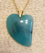 Natural Aqua-Green Dragon Veins Agate Gold Plated Stainless Steel Chain Necklace