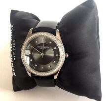 NWT Kenneth Cole NY Black Band Gray Face Crystals Women's Watch 10031696 $125