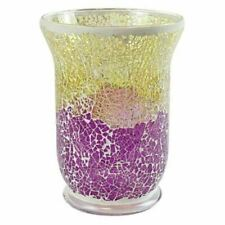 YANKEE CANDLE CLEAR GLASS/ PURPLE & GOLD SMASHED GLASS MOSAIC JAR HOLDER