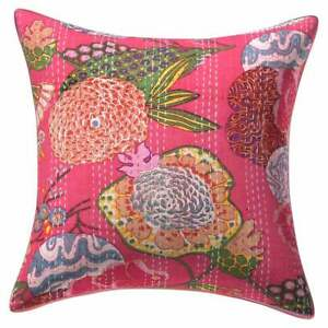 Cushion Cover India Handmade Floral 100% Cotton Embroidered Kantha Pillow Covers