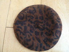 MONSOON ACCESSORIZE LEOPARD HAIRY ANGORA RICH BERET HAT ONE SIZE DARK BROWN
