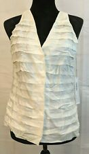 Worth New York NWT Size 8 Pearl Silk Blend Ruffle Tiered Career Cami Snap Button