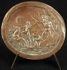 Médaille Zeus & Poséidon Neptune son trident & char à Hippocampe mythology medal