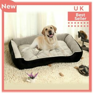 Pet Basket Bed with Fleece Soft Comfy Fabric Washable Dog Cat Cosy Medium Large