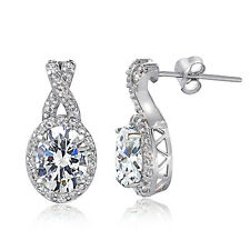 925 Sterling Silver Cubic Zirconia X and Oval Drop Earrings
