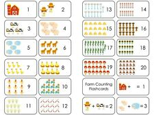 23 Farm Counting Flashcards.  Preschool Laminated Counting Math Flaschards.