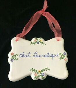 Ceramic Chat Lunatique (Crazy Cat) Wall Hanging Made in Portugal