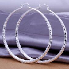 Silver Plated Ear Studs Women's Large Round Hoop Earrings Jewelry