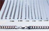 """SOLID CURB CUBAN CHAIN NECKLACE 925-STERLING SILVER 1.5-11 MM MEN/WOMEN'S 16-30"""""""