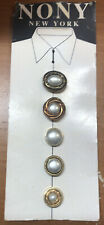 Vintage Nony New York Button Covers White Pearl Gold Accents 5 on Card # 2016
