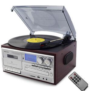 Bluetooth LP Vinyl Record Player Turntable CD/Cassette/Radio/USB with Speakers