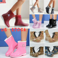 Women's Waterproof Fur Lined Rainy Shoes Wellies Wellingtons Pull On Ankle Boots