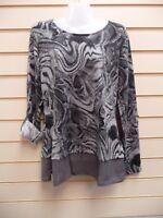 Unbranded @ Kaleidoscope Top Grey Size 10 Print Detail  BNWOT  G013