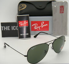 Authentic Ray-Ban Aviator Polarized Black Frame Green RB 3025 002/58 62MM Large