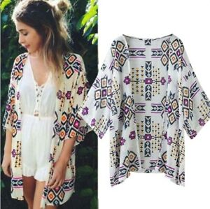 UK Women's Geometric Print Chiffon Loose Shawl Kimono Cardigan Cover Up Blouse