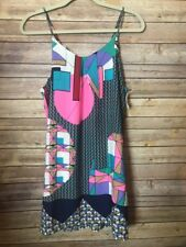 NWT Impeccable Pig Sz M Colorful Slip Dress Tunic ~ Sleeveless Silky Chiffon