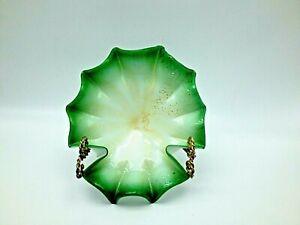 Murano Art Glass Bowl Green and White Sommerso Aventurine ruffled edge