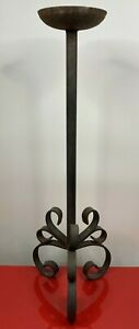 "VTG/Antique Black CAST IRON  Candle Holder Floor Stand Garden  25.75""Tall"