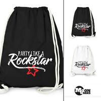 Turnbeutel Party Like a Rockstar Party Beutel Tasche Gymbag Moonworks®