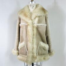 Overland Sheepskin 70s Womens Coat Jacket Shearling Horn Buttons Sz 14 L