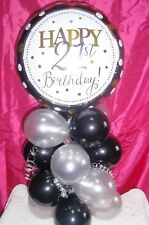 FOIL BALLOON  TABLE DECORATION DISPLAY AGE 21 21ST BIRTHDAY SILVER & BLACK
