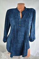 COCOMO (M) Henley Tunic Top Pintuck Pleats Pockets BLUE OMBRE Stretch Polyester
