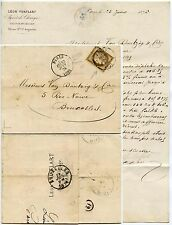 FRANCE 1876 CERES 30c CANCELLED BY CIRCULAR DATED PMK...VUAFLART PRINTED LETTER