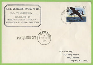 Ascension 1978 5p Bird on Paquebot cover, RMS St Helena - Posted at Sea