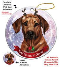 Rhodesian Ridgeback Dog Christmas Holiday Ornament Up To Snow Good