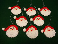 Santa Hand Crochet Christmas Tree Ornaments Package Toppers Handmade Lot of 8