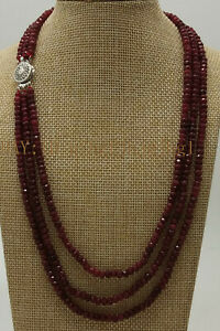 "AAA Natural 2x4mm NATURAL RUBY FACETED BEADS NECKLACE 3 STRAND 22""-24"""