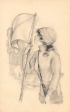 Sidonie~Pretty Girl at Campsite Stakes Out Territory~Pennant Flag~1911 Artist PC