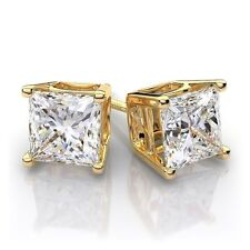 1.0 ct Princess Cut Solitaire Stud Earrings Solid 14k Yellow Gold Screw Back