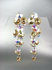 Champagne Brown Iridescent Czech Crystals WATERFALL Pageant Bridal Prom Earrings