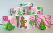 12Y+ RESIN GLITTER GINGERBREAD TREES CANDY CANE PINK GROSGRAIN RIBBON MIX 4 BOW