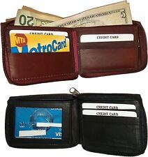 Men's wallet Zip around Leather Wallet 9 Credit Card 2 Billfolds wallet Lot of 2
