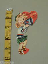 Vtg Valentine Card 40's Cheerleader Megaphone Cheering for You Unused