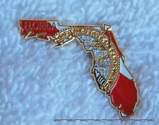 FLORIDA STATE SHAPED / STATE FLAG LAPEL PIN FL Tallahassee Miami Jacksonville