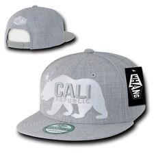 Heather Gray California Cali Republic Bear Snapback Snap Back Cap Caps Hat Hats