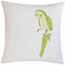 Ivory/Green Parrot On A Limb decorative throw pillow cover/cushion cover 18x18""