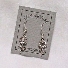 "SUNFLOWER STERLING SILVER 3/4"" DANGLING EARRINGS NEW DARLING"