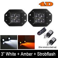 2x 4D Amber/White/StrobeFlash Led Flush Mount Work Light Cube PODS 4INCH Remote