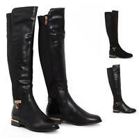 Womens Ladies Knee High Gold Detail Low Block Heel Zip Up PU Suede Black Boots
