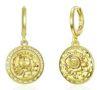 Sun Coin Drop Dangle Earrings in 14K Gold Plated ITALY