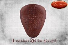 "La Rosa 13"" Harley Chopper Bobber Vinyl Solo Seat-Brown Alligator"